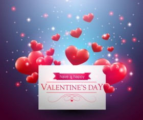 3D heart with valentine day card vector