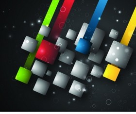 3D square with black background vector