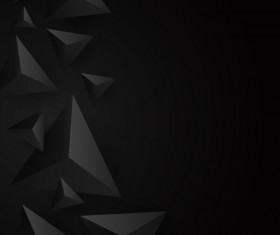 3D triangle black background vector