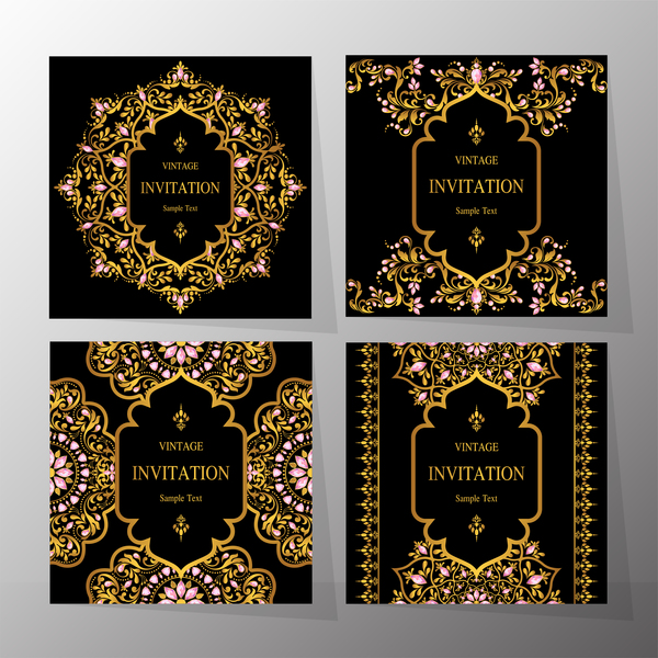 4 Kind invitation card with ornaments vector