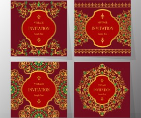 4 Kind vintage invitation cards template vector