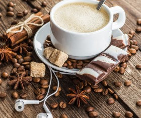 A cup of aromatic coffee and chocolate Stock Photo