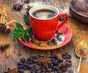 A cup of fragrant coffee and coffee beans Stock Photo 01