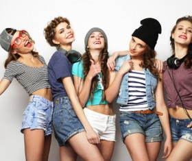 A group fashion lively and happy young girl Stock Photo 01