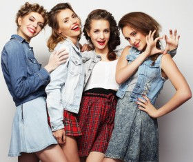 A group fashion lively and happy young girl Stock Photo 02