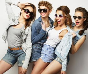 A group fashion lively and happy young girl Stock Photo 03