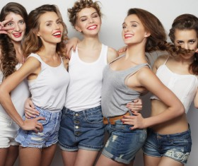A group fashion lively and happy young girl Stock Photo 04