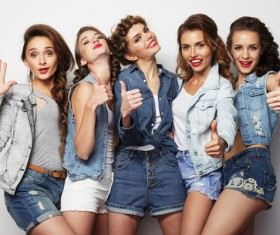 A group fashion lively and happy young girl Stock Photo 05