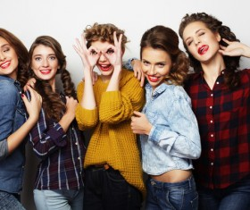 A group fashion lively and happy young girl Stock Photo 06