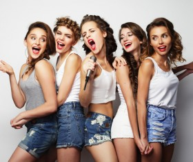 A group fashion lively and happy young girl Stock Photo 07