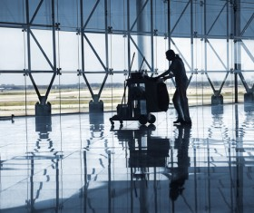 Airport cleaner Stock Photo