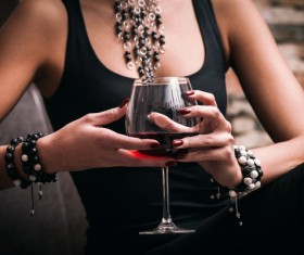 Alcoholic drinks in hand Stock Photo 02