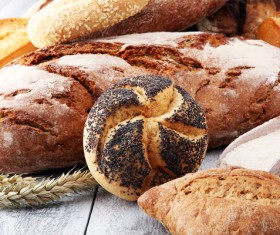 All kinds of whole wheat bread on the desktop Stock Photo