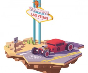 American hot rod car on the highway vector