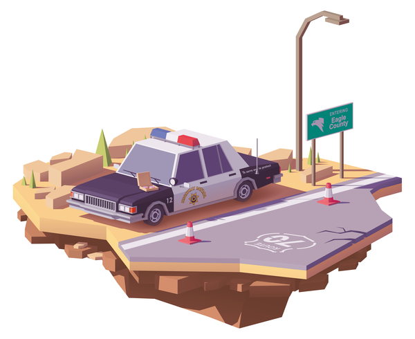 American police car on the highway vector
