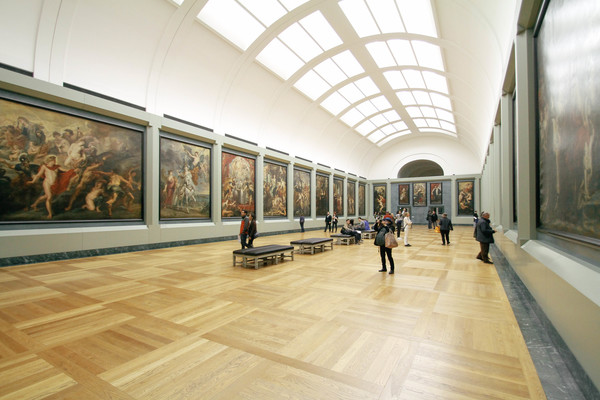 Appreciate the oil painting exhibition people Stock Photo