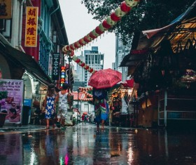 Asian town after rain Stock Photo