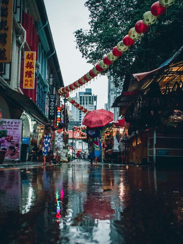 Asian town after rain Stock Photo