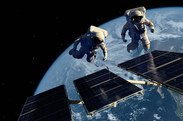 Astronaut Maintenance Space Station Stock Photo