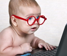 Baby and laptop Stock Photo 02