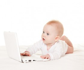 Baby and laptop Stock Photo 03
