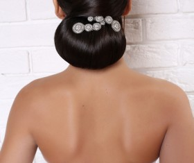 Beautiful brides hairstyle Stock Photo
