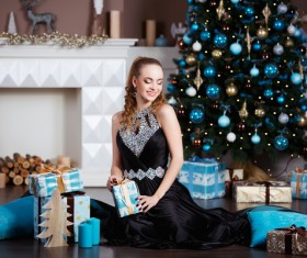 Beautiful elegant lady holding a gift box Stock Photo 03