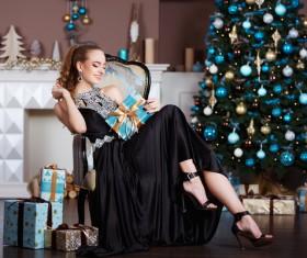 Beautiful elegant lady holding a gift box Stock Photo 04