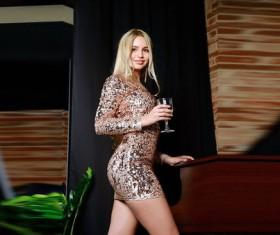 Beautiful girl holding wine glass Stock Photo