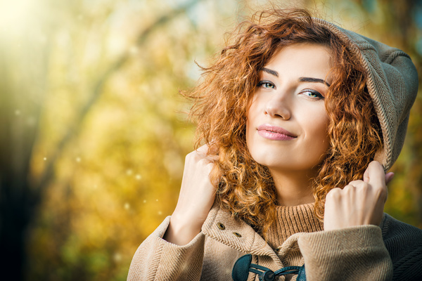 Beautiful red haired woman Stock Photo 01