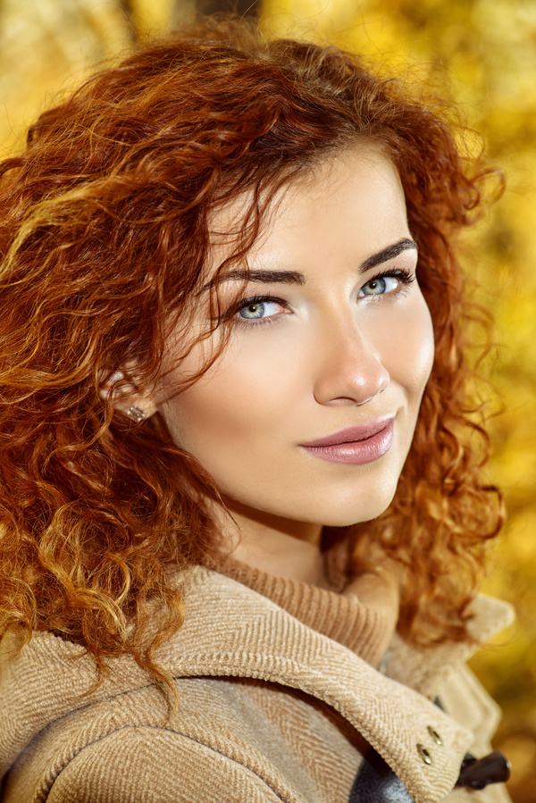 Beautiful red haired woman Stock Photo 02