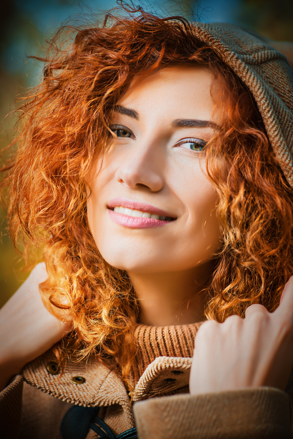 Beautiful red haired woman Stock Photo 03