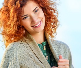 Beautiful red haired woman Stock Photo 05