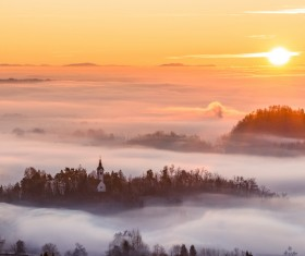 Beautiful sunrise with clouds Stock Photo