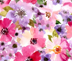 Beautiful watecolor flower pattern seamless vector 01