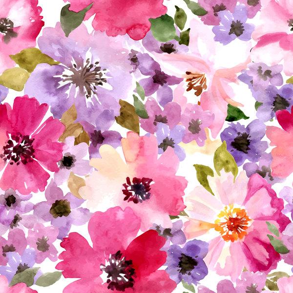 Beautiful watecolor flower pattern seamless vector 01