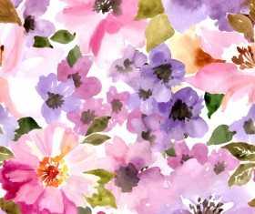 Beautiful watecolor flower pattern seamless vector 02