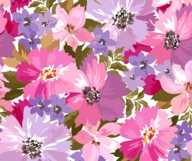 Beautiful watecolor flower pattern seamless vector 03