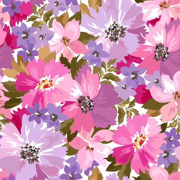 Beautiful watecolor flower pattern seamless vector 03