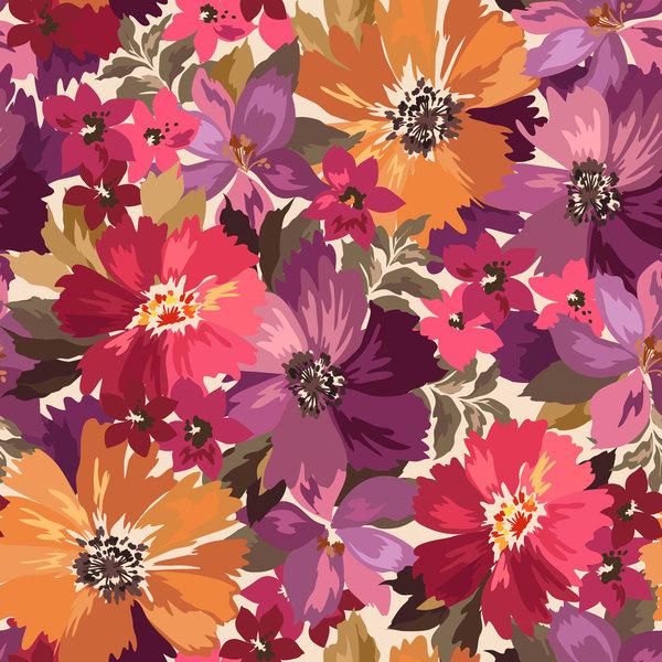 Beautiful watecolor flower pattern seamless vector 04
