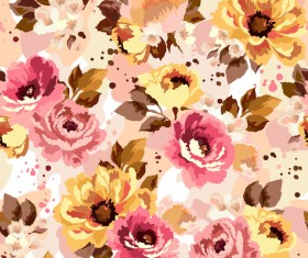 Beautiful watecolor flower pattern seamless vector 05