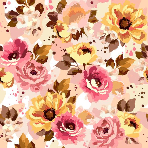 Beautiful watecolor flower pattern seamless vector 05