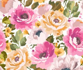 Beautiful watecolor flower pattern seamless vector 06