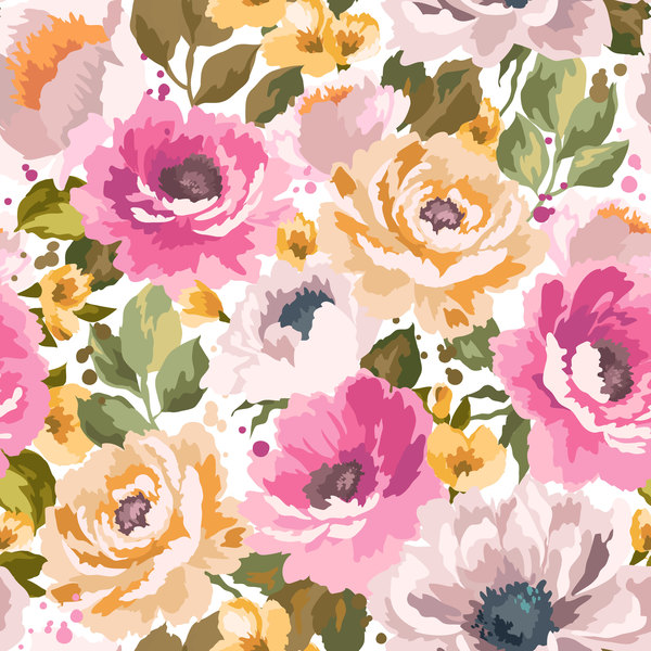 Beautiful watecolor flower pattern seamless vector 06