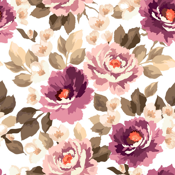 Beautiful watecolor flower pattern seamless vector 07
