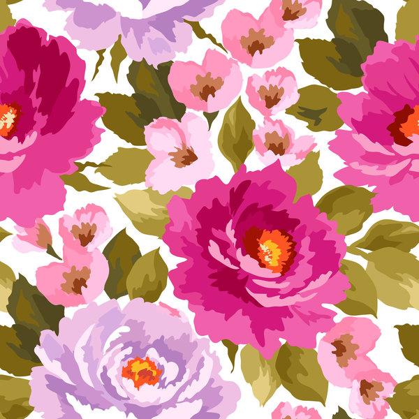 Beautiful watecolor flower pattern seamless vector 08