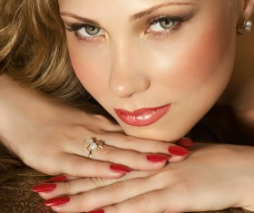 Beautiful woman with red nails Stock Photo