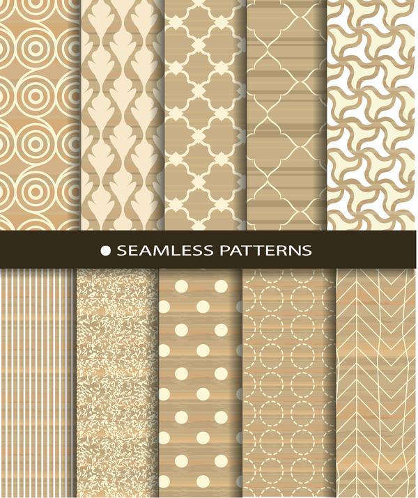 Beige texture seamless patterns vector 01