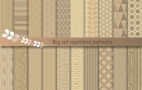 Beige texture seamless patterns vector 02