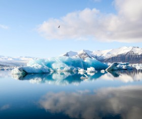 Big iceberg on calm lake Stock Photo